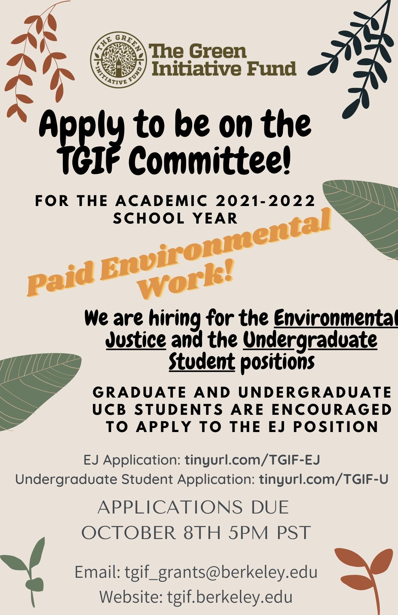 Flyer with information on the TGIF Committee Applications, also provided in plain text nearby.